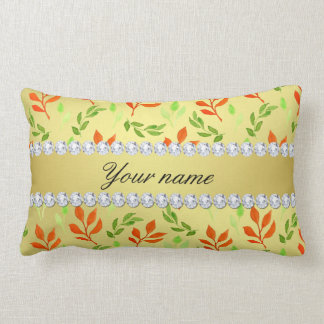 Fall and Green Leaves Faux Gold Foil Bling Diamond Lumbar Pillow