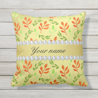 Fall and Green Leaves Faux Gold Foil Bling Diamond Throw Pillow