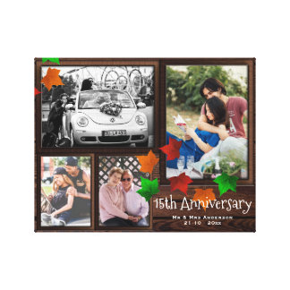 Fall ANNIVERSARY Photo Collage Rustic ADD YEARS Canvas Print