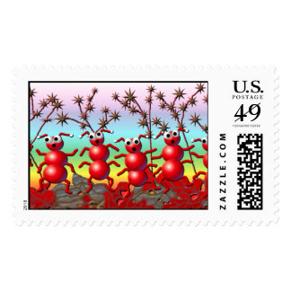 fall ants postage stamp