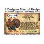 Fall Apple Jack Thanksgiving Martini Recipe Card Post Cards