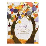 Fall Art Deco Love Trees Wedding RSVP (4.25x5.6) Postcard