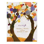 Fall Art Deco Love Trees Wedding RSVP (4.25x5.6) Post Card