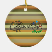 Fall Art Hedgehogs Love  Ornament