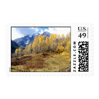 Fall Aspens, New Snow on Maroon Bells Postage Stamp