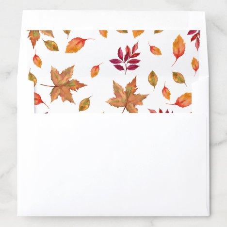 Fall Autum leaves envelope liner