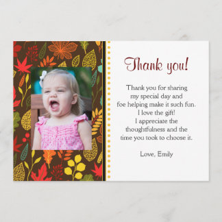 Fall Autum Leaves Thank You Note Photo Card