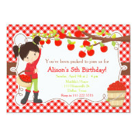 Fall Autumn Apple Picking Black Hair Birthday Invitation