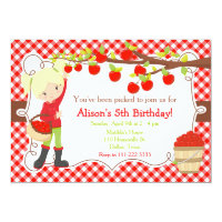 Fall Autumn Apple Picking Blonde Birthday Invitation