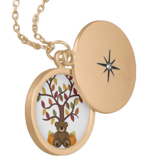 Fall Autumn Bear Design Gold Plated Necklace