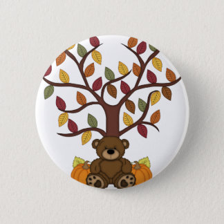 Fall Autumn Bear Design Pinback Button