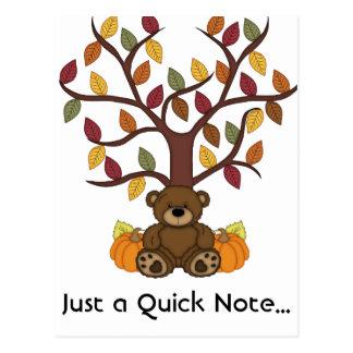 Fall Autumn Bear Design Post Card