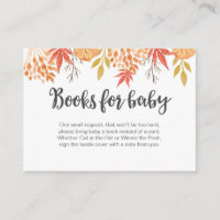 Fall Autumn Book Request Baby Shower Insert Card