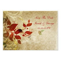 fall autumn brow leaves save the date announcement