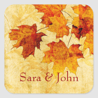 fall autumn brown leaves envelope seal square sticker