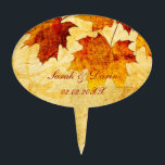 """fall autumn brown leaves  personalized cake picks<br><div class=""""desc"""">stylish,  chic,  fall wedding design</div>"""