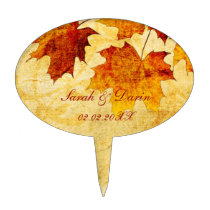 fall autumn brown leaves  personalized cake picks
