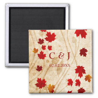 fall autumn brown leaves save the date magnets