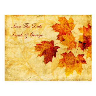 fall autumn brown leaves save the date postcards