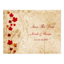 fall autumn brown leaves save the dates postcard