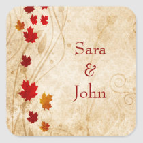 fall autumn brown leaves wedding favor stickers