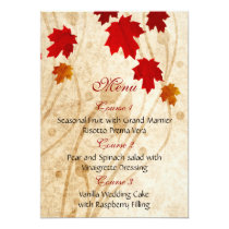 fall autumn brown leaves wedding menu card