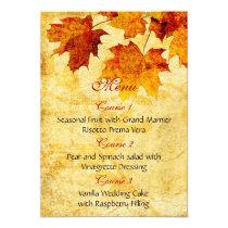 fall autumn brown leaves  wedding menu card