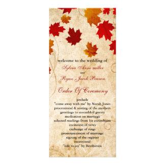 Fall Autumn Brown Leaves Wedding Program
