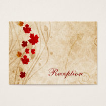 fall autumn brown leaves  wedding reception cards