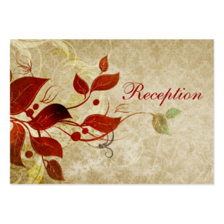 fall autumn brown leaves  wedding reception cards business card template