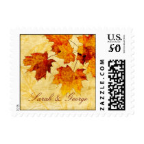 fall autumn brown leaves  wedding stamps