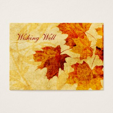 fall autumn brown leaves wishing well cards