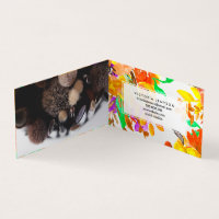 Fall autumn brown orange floral watercolor pattern business card