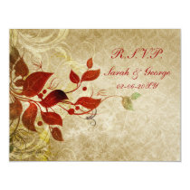 fall autumn brown wedding rsvp cards