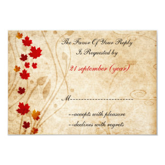 fall autumn brown wedding rsvp cards invitations