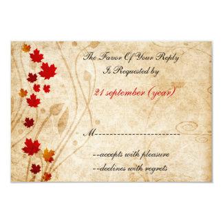 "fall autumn brown wedding rsvp cards 3.5"" x 5"" invitation card"