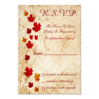 fall autumn brown wedding rsvp cards announcements