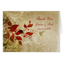 fall autumn brown wedding Thank You Card