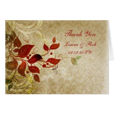 fall autumn brown wedding Thank You Card