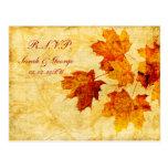 fall autumn brown winter Wedding rsvp card Post Card