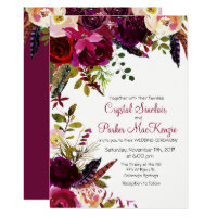 Fall Autumn Burgundy Floral Wedding Invitation