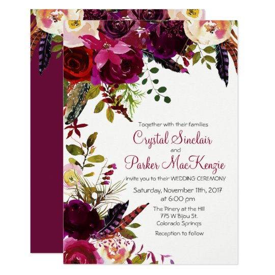 Fall Color Wedding Invitations: Fall Autumn Burgundy Floral Wedding Invitation