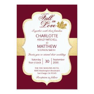 Fall Autumn Burgundy Gold FALL IN LOVE Wedding Card