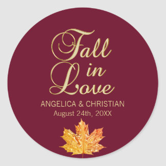 Fall Autumn Burgundy Gold FALL IN LOVE Wedding Classic Round Sticker