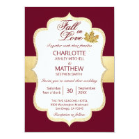 Fall Autumn Burgundy Gold FALL IN LOVE Wedding Invitation