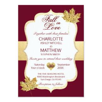 Fall Autumn Burgundy Gold FALL IN LOVE Wedding Invitation