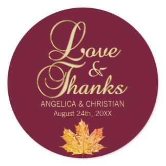 Fall Autumn Burgundy Gold LOVE & THANKS Wedding Classic Round Sticker
