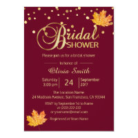 Fall Autumn Burgundy Marsala Bridal Shower Invitation