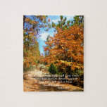 """Fall Autumn Christian Scripture Bible Verse Jigsaw Puzzle<br><div class=""""desc"""">Photo taken by Lisa R Adams.  Her paintings,  prints,  and products can be found on Ebay.com,  Etsy.com,  and Zazzle.com,  under the name Creationarts.</div>"""