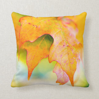 Fall / Autumn Colorful Light Kissed Leaf / Leaves Throw Pillow